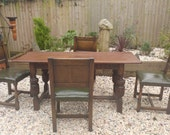 Large antique oak farmhouse refectory table and  dining chair set chair set  19C Jacobean style