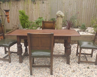 Large antique oak farmhouse refectory table and  dining chair set chair set  19C Jacobean style  BARGAIN reduced to sell