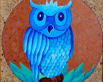 Blue Owl painting-painting on Cork unique gift idea to hang home decor