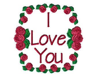 Embroidery File,  Embroidery, PES Format, Digital File, Embroidery Pattern, Machine Embroidery, I Love You Embroidery Design, Rose Design