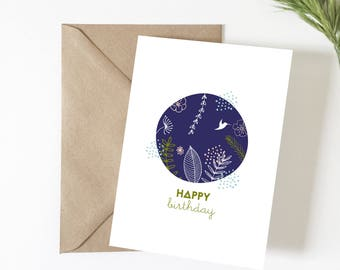 Birthday card, Happy birthday card greeting, illustration, vegetable, tropical, happy birthday, exotic, flowers, card, summer