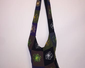 Handcrafted Crossbody Hobo Boho Bohemian Hippie Messenger Tote Cotton Bag | Purse Sling Bag | Made in Nepal
