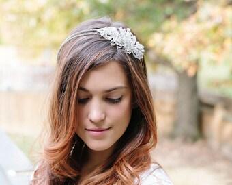 Bridal Headband, Bridal Hair Vine, Silver headband,  Bride Hair Accessories, Rhinestone headband, Bridal tiara