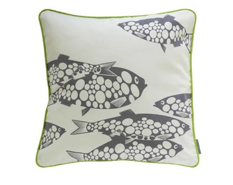 Pillowcase MISS FISH, wool-white / grey violet, 50 x 50 cm (without filling)