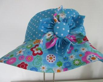 Girl's Reversible Sun Hat, blue, flower trim