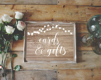 Gifts and Cards Sign | Instant Download | 8x10 11x14 16x20 | Print it yourself! | GC003 WoodA