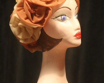 Vintage Hat, 1950's Beige and Cream