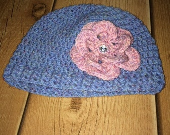 Handmade Crochet Beanie Hat With Removable Flower