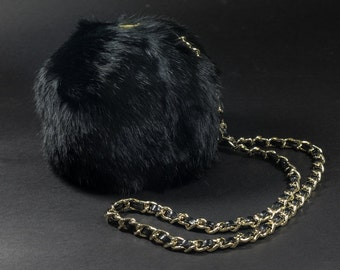 Black Clamshell Fur Pompom Purse