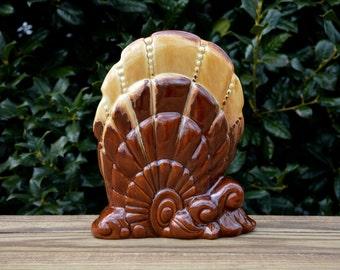 Royal Haeger Oyster Shell Vase, R878, Figural Vase, Royal Haeger Pottery, Woodland Brown Glaze, Royal Haeger U.S.A., Pottery Vase, Brown