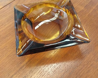 Retro 1970s Amber Glass Ashtray