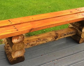 New handmade wooden log bench can be made to any size