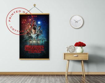STRANGER THINGS Poster on Fabric, Rob Morgan, Dacre Montgomery, Winona Ryder, Eleven, Pull down Poster, Print on Fabric, Poster Hanger
