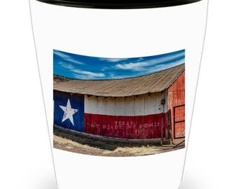 TEXAS Flag on Aged Barn - Lone Star State Pride on Cool Ceramic Shot Glass Makes a Perfect Gift for The Texan in Your Life!