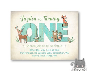 One Woodland Birthday Invitations for Boys / 1st Birthday Invites / Woodland Animals / Tribal / Fox Deer Bear / Forest Theme Party 67a