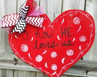 Valentine's decor, wooden door hanger, Valentine's day,  front door hanger, heart door hanger, religious gifts, religious decor