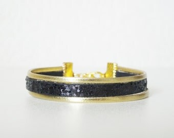 Bracelet PAILLETE BICOLOR black and gold leather effect made by hand