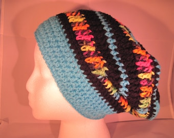 black & turquoise slouchy