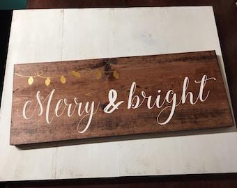 Merry and bright sign, chrsitmas sign, holiday decor, christmas decor, christmas lights