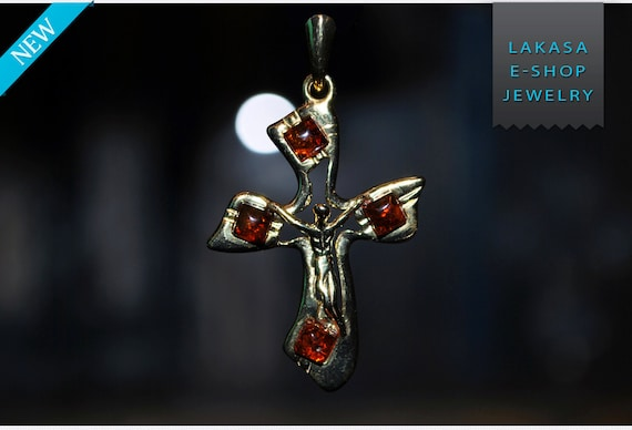 cross baltic amber sterling silver gold plated jewellery lakasa eshop jewelry best gifts ideas baptism birthday mother men anniversary woman