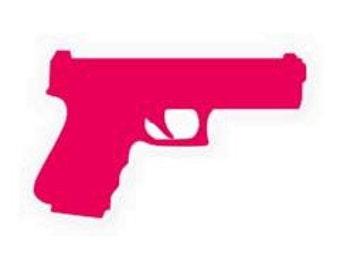 Pistol/handgun sticker 5 in. long x 3 in. tall