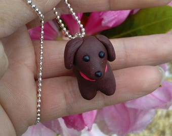 Dog necklace, Handmade, Gift, Polymer clay dog necklace,