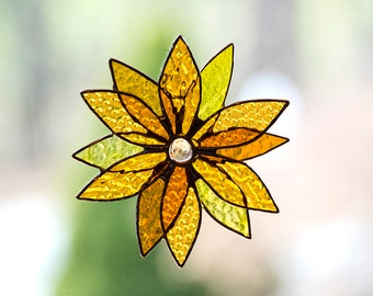 Amber & Yellow Multi-Colored Stained Glass Flower
