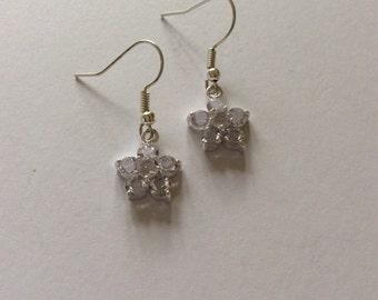 Clear rhinestone flower earrings / flower jewellery / rhinestone jewellery / flower gift
