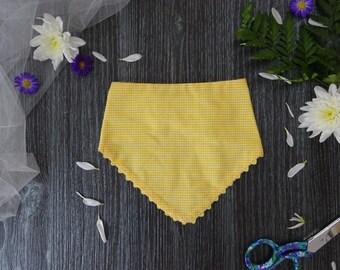 Bandana Bib with Ric Rac - Yellow/White
