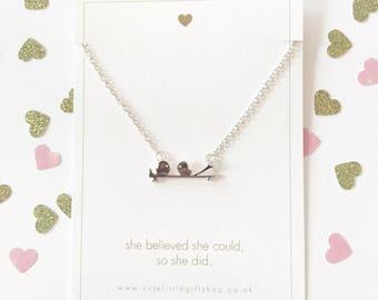 Love Birds Necklace - Silver