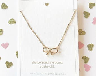 Lovely Bow Necklace - Gold