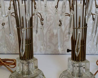Art Deco Crystal Waterfall lamps, Hollywood Regency Lighting, Art Deco lighting, crystal accent lamps, Vintage lights, 1920's, 1930's