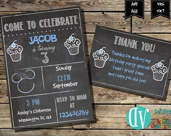 Birthday Invitation  Birthday Party Printable -  5x7 or 4x6 and FREE Thank You Card Printable 5x3.5