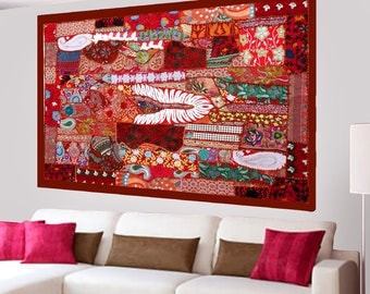 Indian Bohemian Tapestry Home Decor Handmade Wall Hanging Embroidery Patchwork Vintage  - 40 X 60 Inches LT10