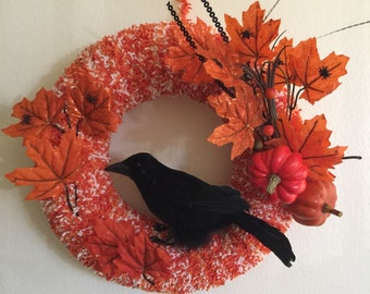 Removable Crow & Fall Orange Leaves Wreath