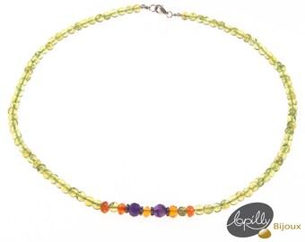 Necklace, peridot, amethyst, cornelian, semiprecious stone,silver, green, purple