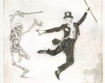 """Original Etching """"Dancing with Death"""""""