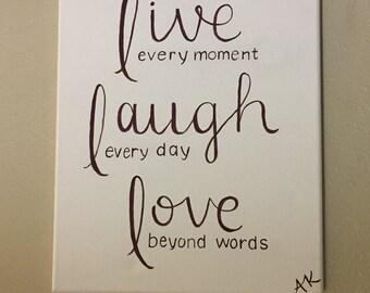Live laugh love, inspirational, home decor, wall art, canvas