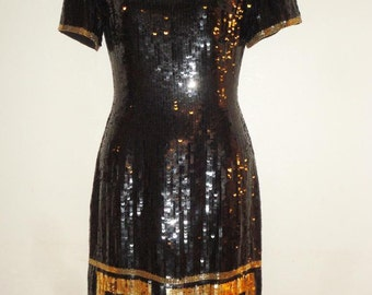 A. J. BARI Sequins Beaded Black Silk Dress Gold Greek Key Border Size 6