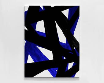 Abstract geometric oil Painting On Canvas,Black And White Blue Minimalist Painting, Canvas Art,HAND PAINTED Original Art- MODERNISMARTSTUDIO
