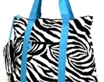LARGE TOTE Zebra blue FREE personalization