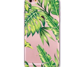 Tropical Leaf Transparent Soft Silicone case for iPhone 5/ 5S / 6 / 6S