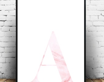 Pretty pink marble typography wall art/home decor/poster art for the home! Personalised with your initial, A3 size makes a lovely gift!