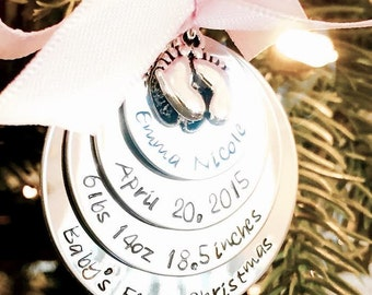 Baby's first christmas ornament personalized babys first christmas ornament christmas gift new mom new parents custom ornament family
