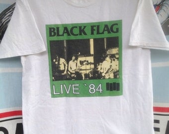 Black Flag vintage and rare T-shirt, Live 84, Henry Rollins, punk rock, 1984, 1980s (L)