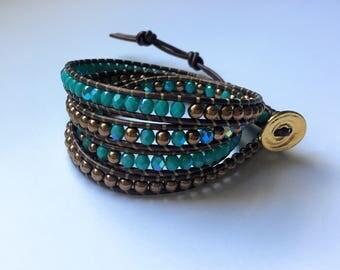Turquoise and Bronze Wrap Bracelet