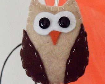 5 OWL ORNAMENTS SET. Brown owl ornament set. 5 piece ornament set.