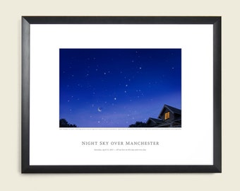 1st Anniversary Night Sky Print.  Wedding Sky, Marriage Night, First Anniversary Gift Ideas for husband, wife, spouse.  On the night we wed.