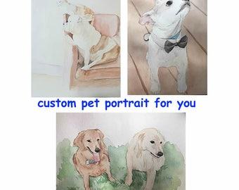 Custom pet portrait, watercolor, dog cat portraits, custom dog portrait,dog memorial,pet portrait made to order,original watercolor painting