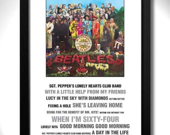 THE BEATLES - Sgt Peppers Lonely Hearts Club Album Limited Edition Unframed A4 Art Print with Song Titles
